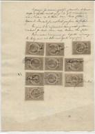 FISCAUX FRANCE 10 TIMBRES  QUITTANCES N°6 10 C GRIS Sur Papier Timbre 50 C  2/10 En Sus - Fiscaux