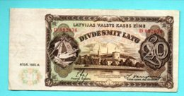 LATVIA LETTLAND 20 LATU 1935 P-30a FARMER AND WOMAN NATIONAL COSTUME 245 - Lettonia