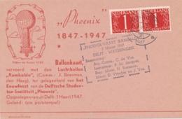 Nederland - 1947 - 2x1 Cent Van Krimpen Op Ballonkaart Rambaldo Van Delft Naar Wateringen - Luftpost