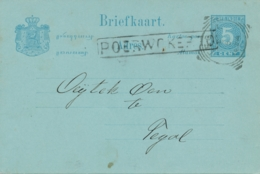 Nederlands Indië - 1894 - 5 Cent Cijfer, Briefkaart G10 Van Langstempel POERWOKERTO Naar VK Tegal - Netherlands Indies