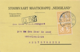 Nederlands Indië - 1921 - 2x3 Cent Cijfer In Paar Op Briefkaart Stoomvaart My Nederland Lokaal Weltevreden - India Holandeses