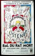 Rare Affiche Le Bal Du Rat Mort D'après James Ensor Ostende Oostende Carnaval - Manifesti