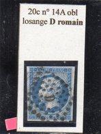 Paris - N° 14A Obl Losange D Romain - 1853-1860 Napoléon III