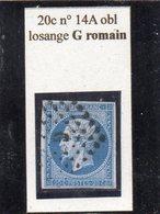 Paris - N° 14A Obl Losange G Romain - 1853-1860 Napoléon III