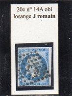 Paris - N° 14A Obl Losange J Romain - 1853-1860 Napoléon III
