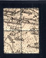 LATVIA BLACK MAP BLOCK OF 4 STAMPS 5 KOPEKS 1919 SC. 2 MNH ARMS TYPE IIa 417 - Latvia