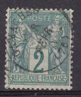 France N°74 Type Sage 2c Vert - 1876-1898 Sage (Tipo II)
