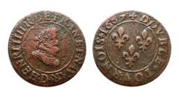 HENRI IV Double Tournois 1607 D (Lyon) N°2 - 987-1789 Monnaies Royales