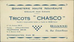42 ROANNE / Tricots Chasco - Bonneterie / CARTE DE VISITE - Roanne