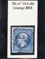 Paris - N° 14A Obl Losange DS3 - 1853-1860 Napoléon III