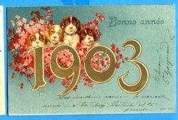 NY296, Bonne Année 1903, Dog, Puppy, Chien, Chiot, Hund, Welpen, Précurseur, Circulée 1902 - Anno Nuovo