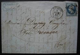 Toulouse 1861 R. Vergès & Cie N°14 Sur Lettre Pour Vic Fezensac - Storia Postale