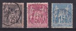 France N°97, 98, 101 Type Sage - 1876-1898 Sage (Type II)