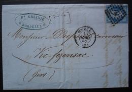Bordeaux 1858 Fs Galinié Numéro 14 Sur Lettre Pour Vic Fezensac (Gers) - Storia Postale
