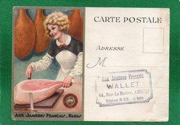 """Carte Postale Avec Publicité - Société """"Aux Jambons Français"""" Paris Envoyée A AMIENS ETS WALLET 44 Rue LEMATTRE 1937 - Werbepostkarten"""