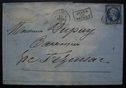Toulouse 1862 J. Larrieu Estellé N°14 Sur Lettre Pour Dupuy Carrossier à Vic Fezensac - Storia Postale