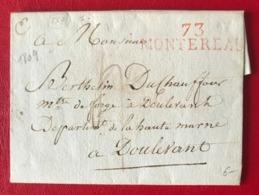 France - Griffe Rouge 73 MONTEREAU Sur Lettre (LAC) 1809 - (B3199) - Marcophilie (Lettres)