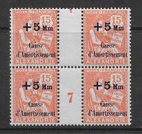 ALEXANDRIE - MOUCHON - YVERT N°81 MILLESIME 1927 ** MNH (CHARNIERE LEGERE SUR UN TIMBRE EN HAUT) - COTE = 105++ EURO - Neufs