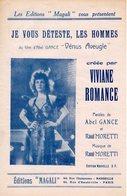 VIVIANE ROMANCE - JE VOUS DETESTE LES HOMMES - 1941 - EXC ETAT PROCHE DU NEUF - AU RECTO PHOTO DU FILM VENUS AVEUGLE - Música De Películas