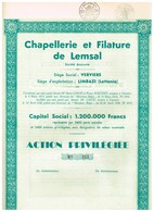 Titre Ancien - Chapellerie Et Filature De Lemsal - Société Anonyme - Titre De 1938 - Textile