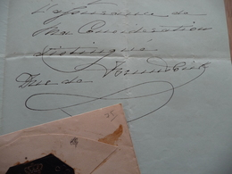 LAS Autographe Duc De Brunswick Lettre à En Tête Aux Armes + Enveloppe Avec Sceau - Autógrafos