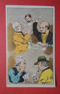 CHROMO Romanet. Groupe De Têtes En Caricature. Les Joueurs De Cartes. A Tout Coup L'on Perd! - Trade Cards