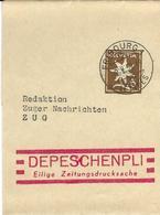 S 53, Bande De Journal, Obl. Fribourg 2.V.59, Empreinte Rouge Depeschenpli - Entiers Postaux