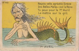 "SO 4- "" RECOIS CETTE AGREABLE SIRENE ..."" - CREATURE MARINE HIDEUSE - CARTE HUMORISTIQUE  - 2 SCANS - 1 De April (pescado De Abril)"
