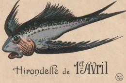 """SO 4-"""" HIRONDELLE DE 1er AVRIL """"- POISSON VOLANT ARGENTE - 2 SCANS - 1° Aprile (pesce Di Aprile)"""