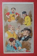 CHROMO Romanet. Groupe De Têtes En Caricature. Buveurs De Vin. Pichet. Entonnoir. - Trade Cards