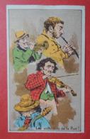 CHROMO Romanet. Groupe De Têtes En Caricature. Musiciens. Violon. Flute. Guitare. Les Virtuoses De La Rue. - Trade Cards