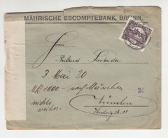 Perfin On Mährische Escomptebank, Brünn Company Letter Cover Posted 1920 To München - Document Inside B200310 - Storia Postale