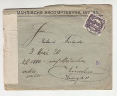 Perfin On Mährische Escomptebank, Brünn Company Letter Cover Posted 1920 To München - Document Inside B200310 - Brieven En Documenten
