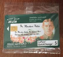 14 - 18 ARMISTICE JOHN Mc CRAE BELL CANADA PHONECARD NEUVE CARD 5 $ QUEBEC CARTE TÉLÉPHONIQUE LAPUCE PRIVÉE - Canada