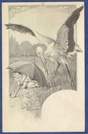 CPA CIRCA 1900 -  ILLUSTRATEUR A. JIRAS - CIGOGNE, BEBE SE CACHANT SOUS UN PARAPLUIE - Otros Ilustradores