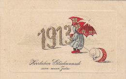 1913 - Goldprägeschrift - Regenschirm & Pilz - 1913          (A-194-91021 !!) - New Year