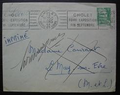Cholet 1951 Lettre De Lemonnier Pour Le May Sur Evre Renvoyée Pour Homonymes Marque Le May Sur Evre à L'arrière - Poststempel (Briefe)