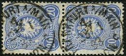 DT.REICH 1883, Nr. 42, SENKR. PAAR, GESTEMPELT, STPL-K1 FRANKFURT MAIN 4c - Oblitérés