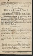 Souvenir Mortuaire MAILLARD Elise (1865-1884) Morte à HUCCORGNE - Devotion Images