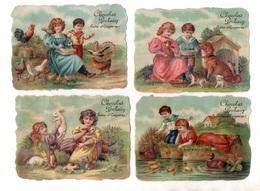 Chocolat Poulain. 4 Chromos Gaufrées. Basse Cour.coq,poules,dindon,lapins,canards,chien,niche,ferme,enfants. - Poulain