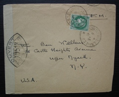 1940 Poste Aux Armées Secteur 390 Pour New York Avec Contrôle Postal Militaire - Postmark Collection (Covers)