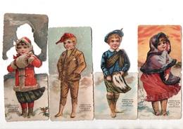 Chocolat Poulain. 4 Chromos Systeme (?) Enfants.neige.ecossais. - Poulain