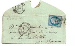 France Pli   N°14Ah RR  POSTFS Lyon 30/071858 à Lyon 31/07/1858 Oblitéré B/TB  CàD Et Petits Chiffres 1818 TB Soldé ! !! - 1853-1860 Napoléon III
