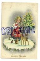 Bonne Année. Petite Fille , Violon, Faon, Lapin, Sapin Décoré - Nouvel An