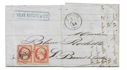 Pli Paire  N°16a Saint Etienne Le 7/7/1854 à Saint Bonnet Le 7/7  Oblitéré B/TB  CàD  Petits Chiffres 3053 TB Soldé ! !! - 1853-1860 Napoléon III