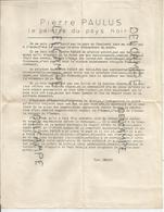 Commentaire De Paul Demasy Sur Les Peintures De Pierre Paulus, Le Peintre Du Pays Noir (Borinage). - Manuscrits