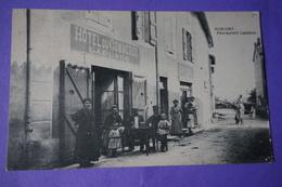 CPA 71 HURIGNY HOTEL DU COMMERCE RESTAURANT Laplace RARE Top ANIMEE !  & ATTELAGE - Sonstige Gemeinden