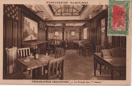 LIGNE DE L'OCEAN INDIEN  MESSAGERIES MARITIMES  EXPLORATEUR GRANDIDIER  LE FUMOIR DES 1ere CLASSES  CACHET  1931 - Paquebots