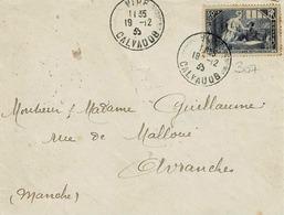 TP 307 Seul Sur Enveloppe De Vire Pour Avranches - Marcophilie (Lettres)
