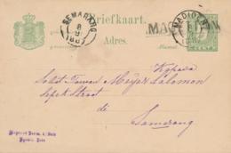 Nederlands Indië - 1887 - 5 Cent Cijfer, Briefkaart G8 Van Langstempel MAGETTAN Via KR Madioen Naar Semarang - Netherlands Indies